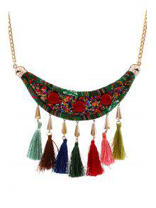 Tassels Beads Ethnic Fake Collar Necklace - Golden