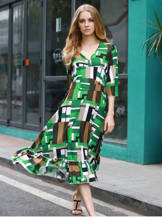 Patchwork Motif Swingy Midi Dress - Multicolore M