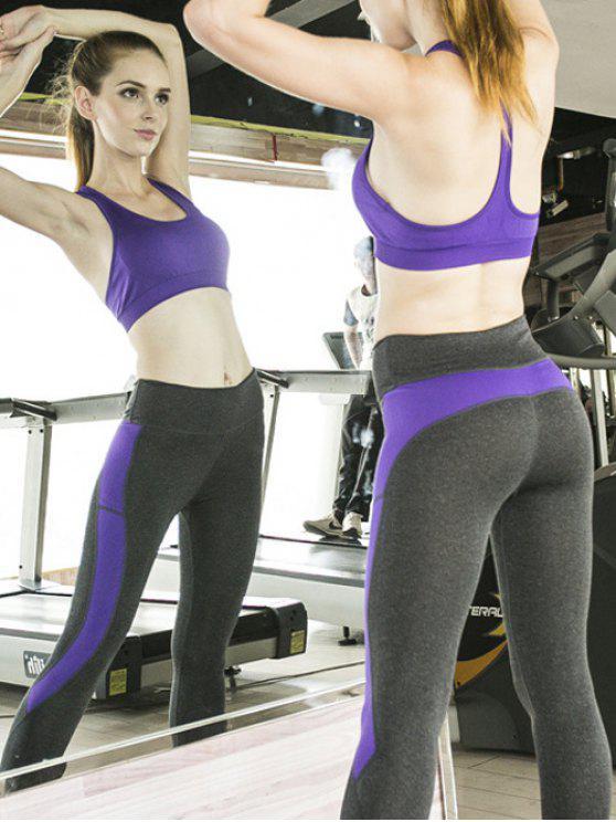Sporty Bra and Skinny Ninth Pants Yoga Suit - Púrpura M