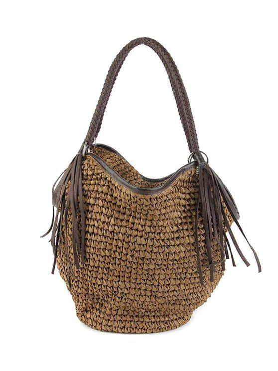 shops Fringe Weaving Solid Color Shoulder Bag - COFFEE