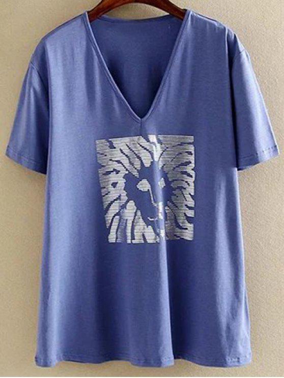 Más el tamaño de cuello en V manga corta caliente de platino de la camiseta - Azul 3XL