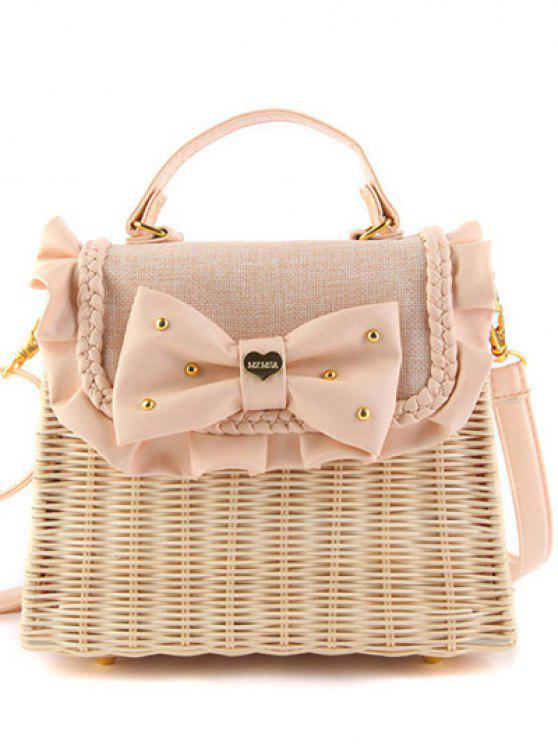 shop Bow Ruffles Weaving Tote Bag - PINK