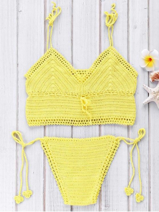 women Crocheted Spaghetti Straps Bikini Set - YELLOW ONE SIZE(FIT SIZE XS TO M)