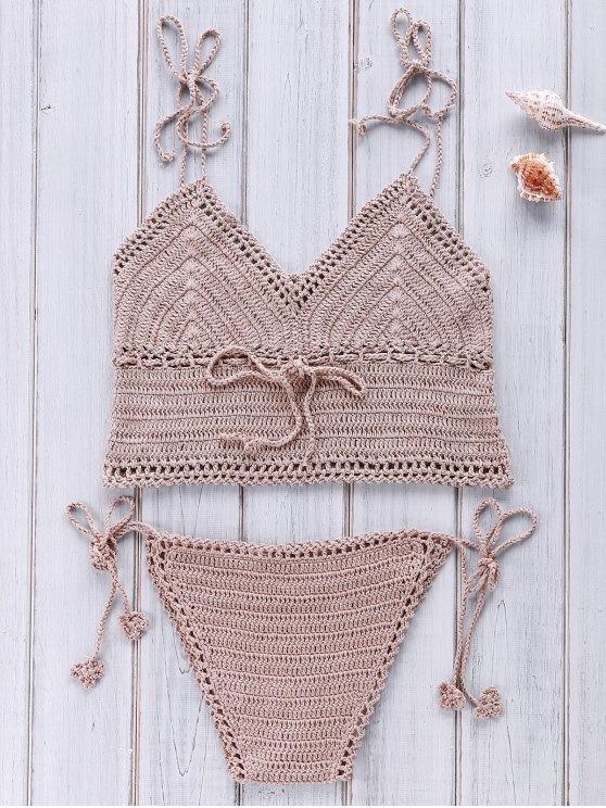 ensemble de bikini à bretelles spaghetti au crochet - Camel Taille Unique(S'adap