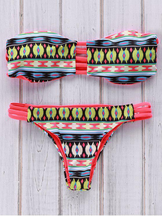 buy Printed Strapless Bikini Set - COLORMIX M
