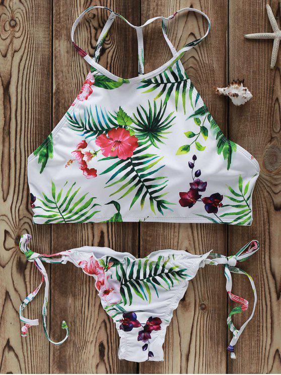 hot Flowers Print High Neck Bikini Set - WHITE M