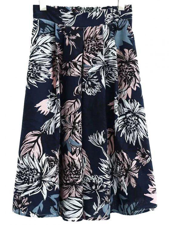 Floral de la falda llena de cintura alta - Azul Marino  L