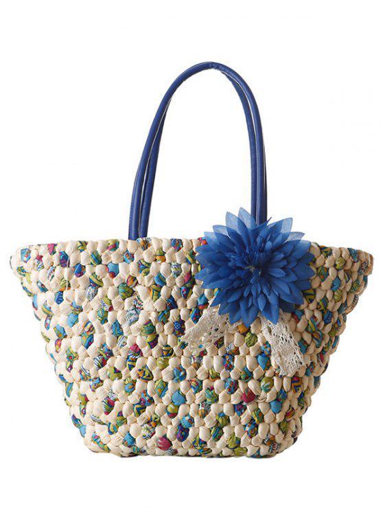 Sac à épaule femme tricot floral à color block - Bleu
