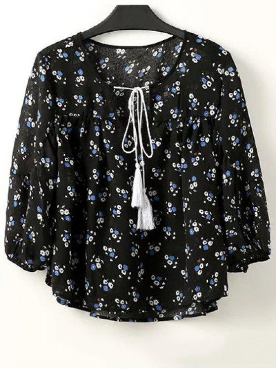 womens Full Tiny Floral Half Sleeve Blouse - BLACK M