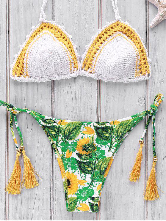 new Printed Crocheted Bikini Set - WHITE ONE SIZE(FIT SIZE XS TO M)
