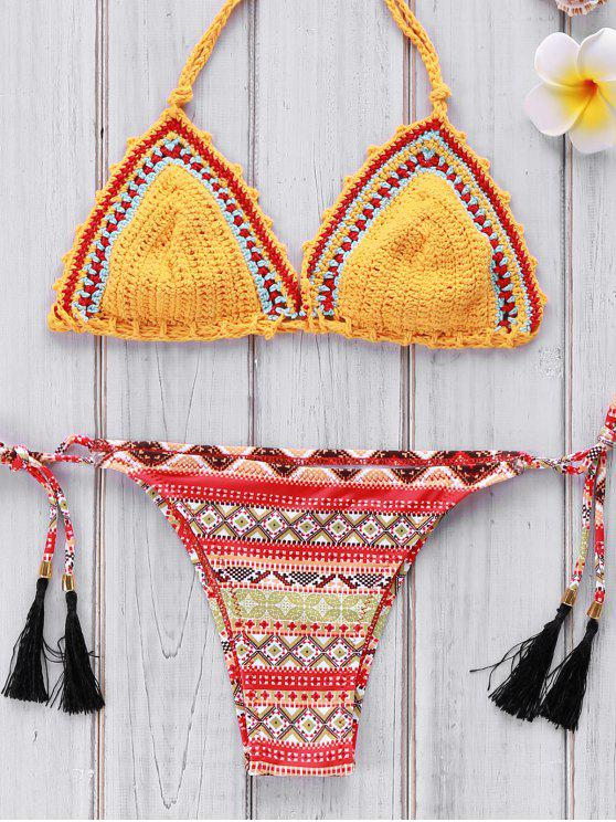 ensemble de bikini au crochet imprimé à motif géométrique - Jaune M