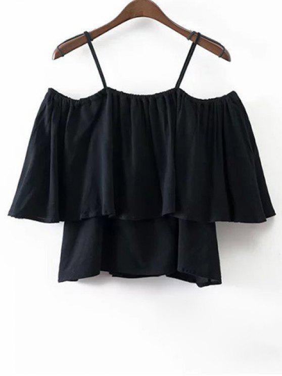 Flounce Cami Off The Shoulder Blouse - Noir L