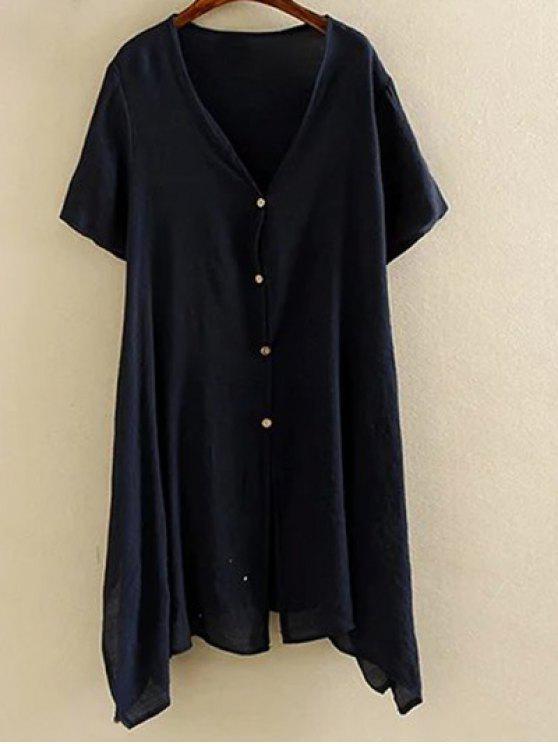Hem irrégulière Manteau col V à manches courtes - Bleu Violet XL