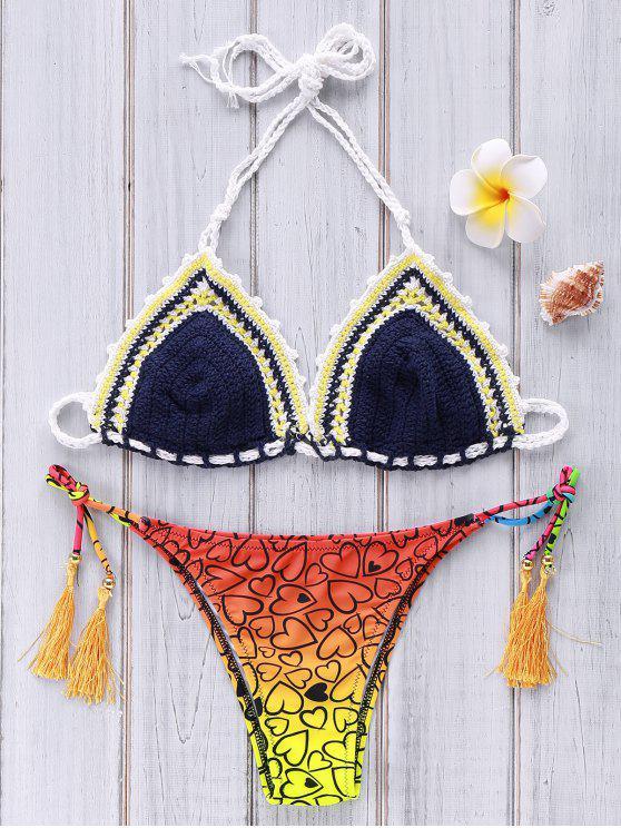 fashion Heart Print Crocheted Bikini Set - PURPLISH BLUE M
