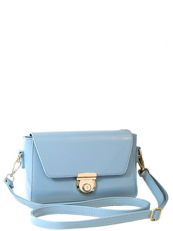 womens Cover Metal PU Leather Crossbody Bag - LAKE BLUE