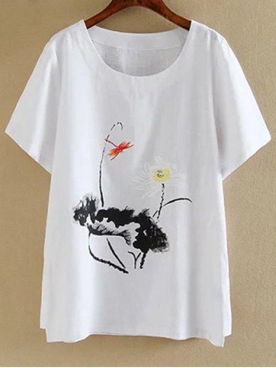 Más el tamaño de cuello redondo manga corta de tinta Lotus Camiseta con estampado - Blanco 3XL
