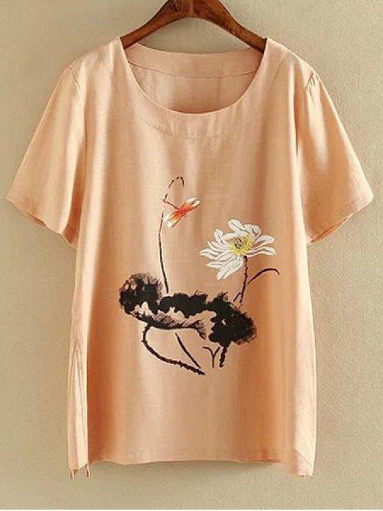 Más el tamaño de cuello redondo manga corta de tinta Lotus Camiseta con estampado - Rosado Claro 5XL