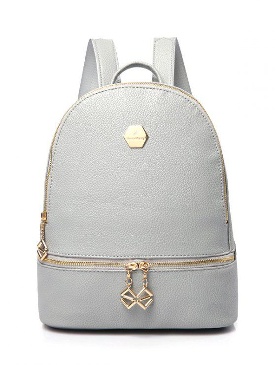 shop PU Leather Zips Solid Color Satchel - GRAY
