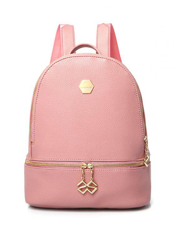 PU cuir Zips Solid Color Satchel - ROSE PÂLE