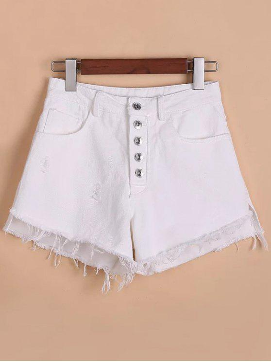 women Button Fly Ripped Rough Selvedge Denim Shorts - WHITE S