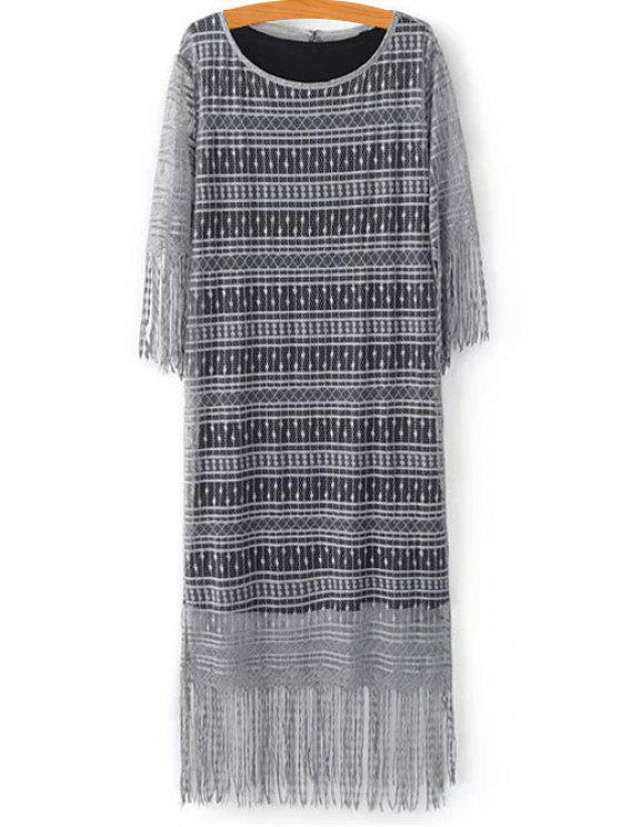 hot Black Scoop Neck Tank Top and Tassels Spliced Lace Dress Twinset - LIGHT GRAY M