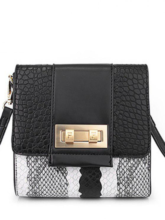 new Snake Print Metal Color Block Crossbody Bag - BLACK