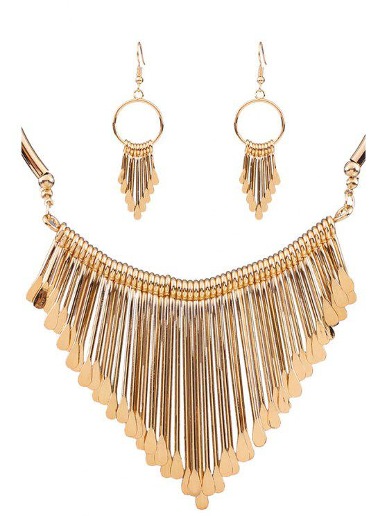 shops Alloy Tassel Necklace and Earrings - GOLDEN