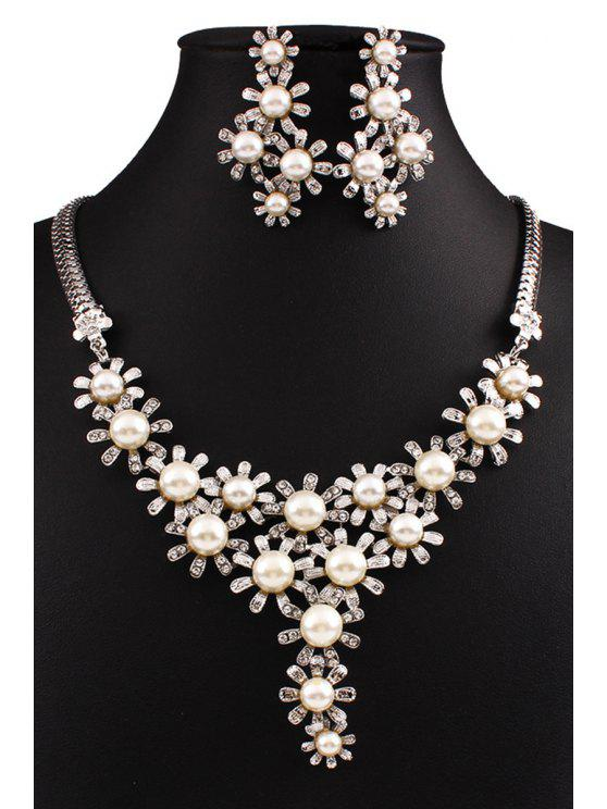 fashion Faux Pearl Flower Necklace and Earrings - WHITE