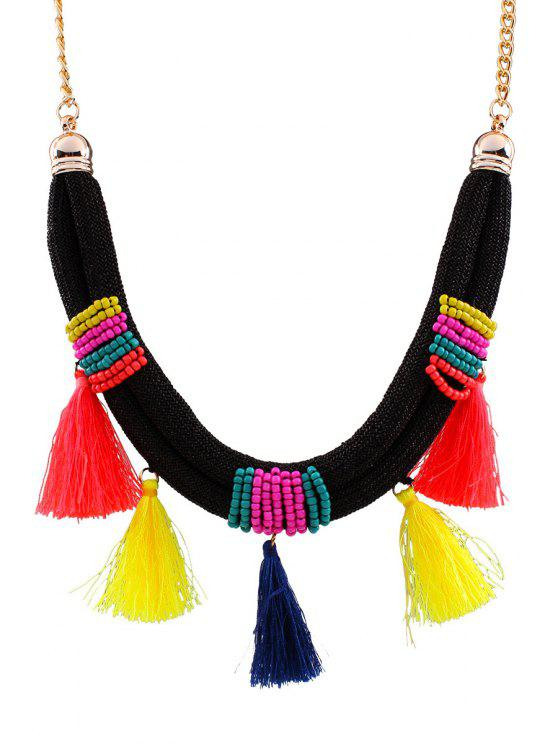 womens Bright Color Tassel Beads Necklace - GOLDEN
