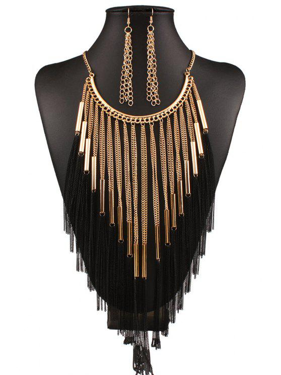 lady Long Tassel Necklace and Earrings - GOLDEN