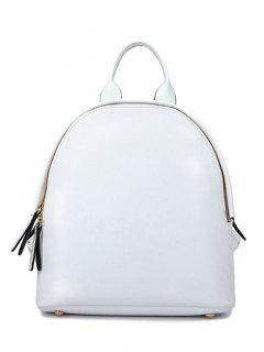 Zip Solid Color PU Leather Satchel - White