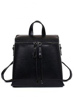 PU Leather Zip Solid Color Satchel - Black