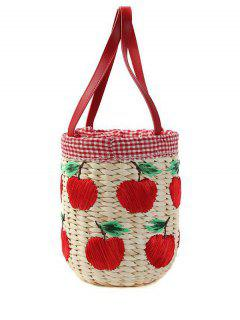 Weaving Apple Pattern Gingham Tote Bag - Red