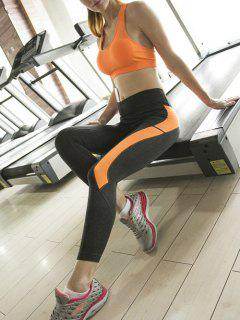 Sporty Bra And Skinny Ninth Pants Yoga Suit - Orangepink L