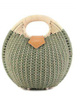 Round Shape Cane Weaving Tote Bag - Green