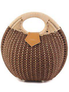 Round Shape Cane Weaving Tote Bag - Coffee