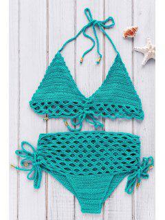 Alta Subida Del Bikini De Ganchillo Conjunto - Verde
