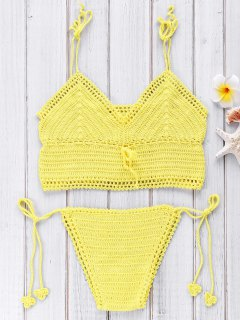 Crocheted Spaghetti Straps Bikini Set - Yellow