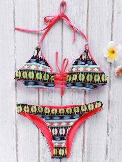 Halter Printed Backless Bikini Set - L