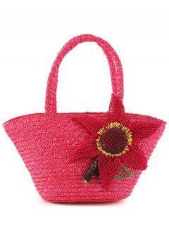 Straw Weaving Sunflower Tote Bag - Rose