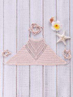 Crochet High Neck Bikini Top - Pink