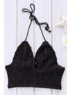 Crochet Hollow Out Halter Bikini Top - Black