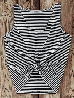 Striped V-Neck Tank Top - White And Black S