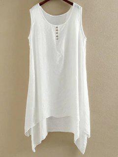Irregular Hem Scoop Neck Sleeveless Dress - White Xl