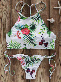 Flowers Print High Neck Bikini Set - White M