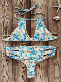 Print Hollow Out Halter Bikini Set - Green L