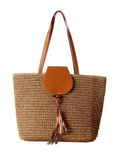 Weaving Straw Tassel Shoulder Bag - Coffee