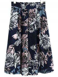 Full Floral High Waist Skirt - Cadetblue L
