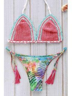 Ensemble De Bikini Au Crochet Imprimé à Motifs - Pastèque Rouge M