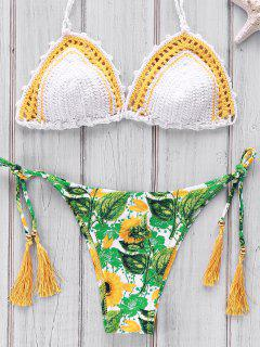 Printed Crocheted Bikini Set - White